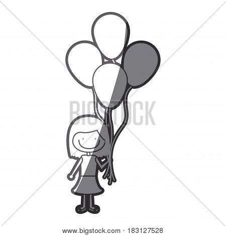 grayscale silhouette of caricature of smiling girl with dress and short hair and many balloons vector illustration