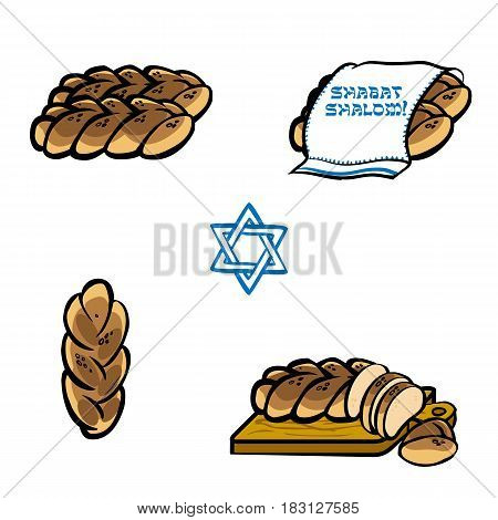 Challah bread for shabat. Vector hand drawn illustration for poster label and menu bakery shop. Isolated on the white background.