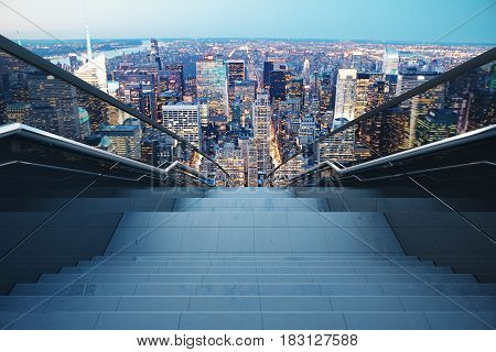 Concrete stairs with railing on night city background. Growth concept. 3D Rendering
