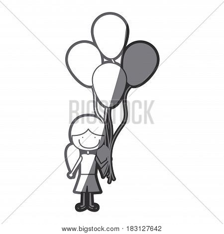 grayscale silhouette of caricature of smiling girl with short pants and pigtails hairstyle and many balloons vector illustration