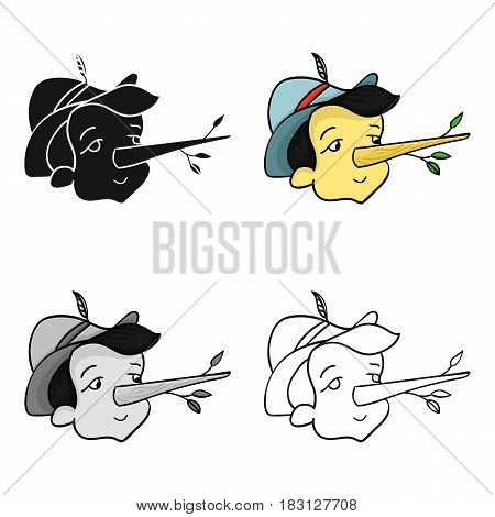 Italian wooden boy icon in cartoon style isolated on white background. Italy country symbol vector illustration.