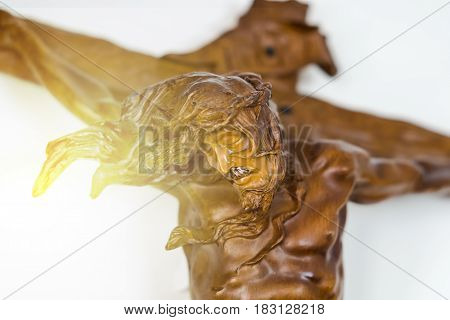 Wooden Jesus On A Cross, Christian Concept