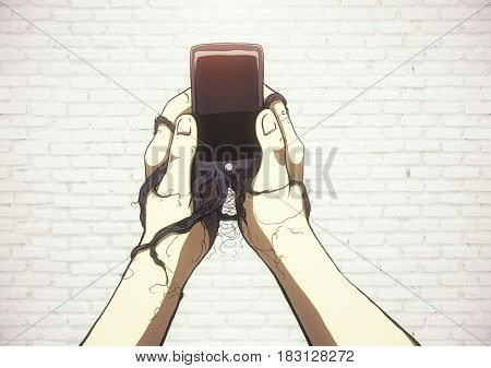 Creative sketch of smartphone roots wrapped around male hands on white brick background. Addiction concept