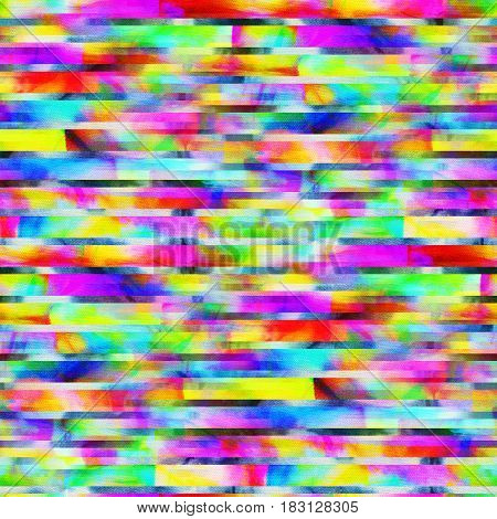 Bright seamless patterns in style glitch- art. Multi-color illustration.