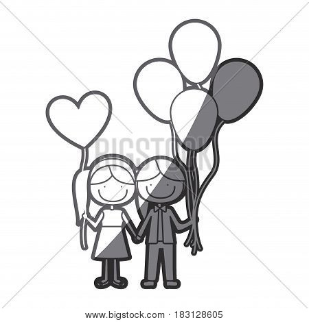 grayscale silhouette of caricature of boy with many balloons and her with balloon in shape of heart vector illustration