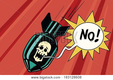 Bomb with skull of the skeleton scream no. Comic book illustration pop art retro color vector. Nuclear war, military conflict