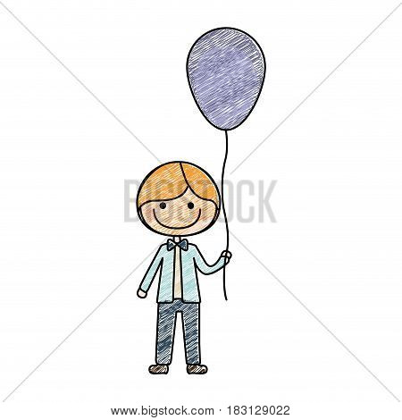 color pencil drawing of caricature of smile kid with bow tie and balloon vector illustration