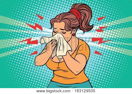 The woman is sick, runny nose and handkerchief. Comic book illustration pop art retro color vector