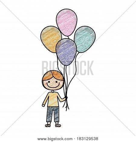 color pencil drawing of caricature of smiling kid with t-shirt and pants with many balloons vector illustration