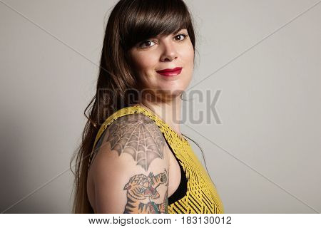 Pretty Plus Size Model With Ideal Skin And Healthy Hair
