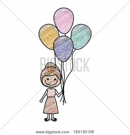 color pencil drawing of caricature of smiling girl with dress and many balloons vector illustration