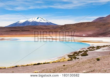 High-altitude Lagoon And Volcano On The Plateau Altiplano, Bolivia