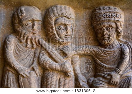 Closeup of Catalan roman art sculpture in the monastery of Elne France