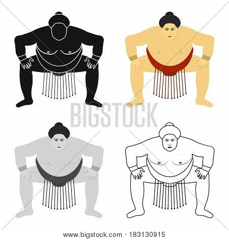 Sumo wrestler icon in cartoon style isolated on white background. Japan symbol vector illustration.