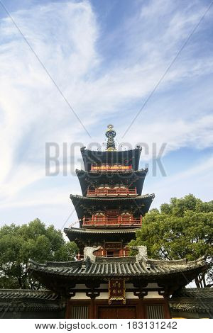 Suzhou China. April 18 2017: Picture of Hanshan Temple with clear sky in Suzhou China