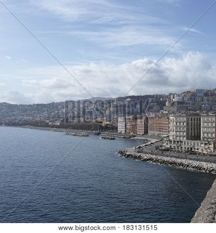 very nice view of naples from castel dell ovo italy