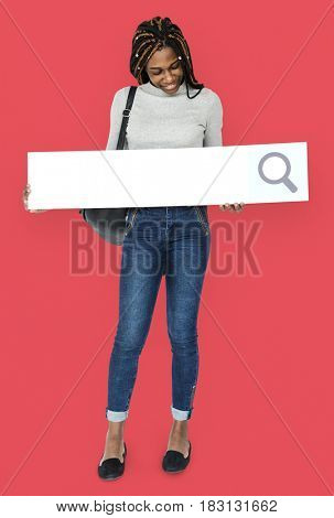 Young adult girl holding blank searching banner