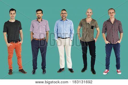 Diversity Adult Men Set Gesture Standing Together Studio Isolated