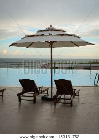 Swimming Pool At Luxury Resort In Sunny Day