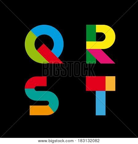 Vector abstract geometric letter Q, R, S, T