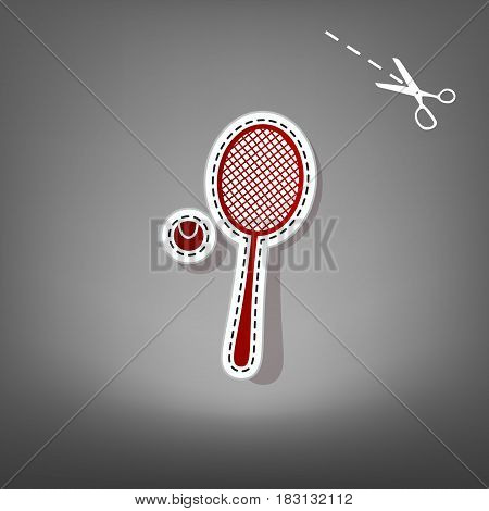 Tennis racquet with ball sign. Vector. Red icon with for applique from paper with shadow on gray background with scissors.
