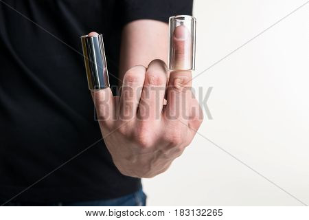 The Guitarist's Hand With Two Guitar Sliders On His Fingers. Horizontal Frame