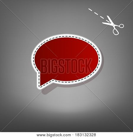 Speech bubble icon. Vector. Red icon with for applique from paper with shadow on gray background with scissors.