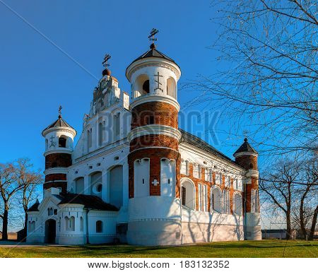 Defensive Orthodox Church of the Nativity of the Virgin in the village Murovanka Grodno region Belarus. View from the front facade.