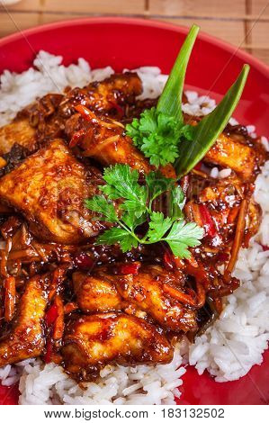 Chinese Sticky Pork Sirloin Roasted With A Sweet And Savory Sauc
