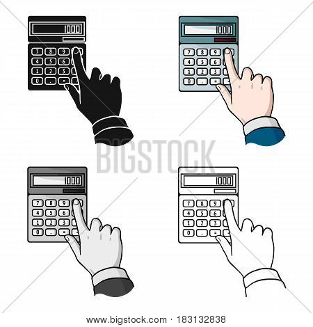 Calculation icon in cartoon style isolated on white background. Money and finance symbol vector illustration.
