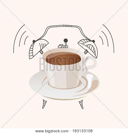 Very high quality original trendy vector illustration of coffee wake up concept