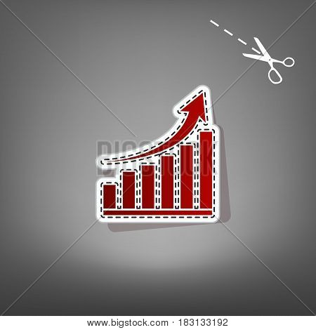 Growing graph sign. Vector. Red icon with for applique from paper with shadow on gray background with scissors.