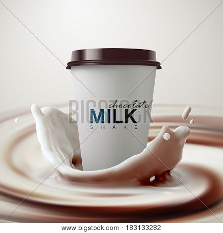 Paper milkshake cup with chocolate milk crown splash on creamy swirling whirlpool background. Vector 3d food illustration. Chocolate milkshake cup package mockup for ad poster design. Vector template