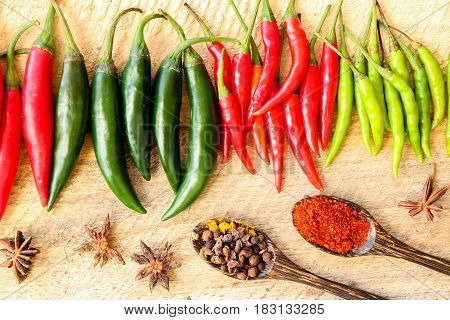 Group of colorful chili put on wooden isolated on white background