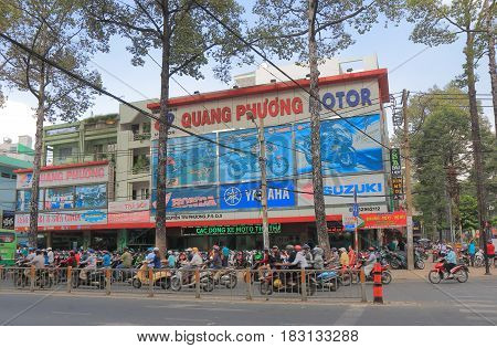 HO CHI MINH CITY VIETNAM - NOVEMBER 27, 2016: Motorbike shop in Ho Chi Minh city.