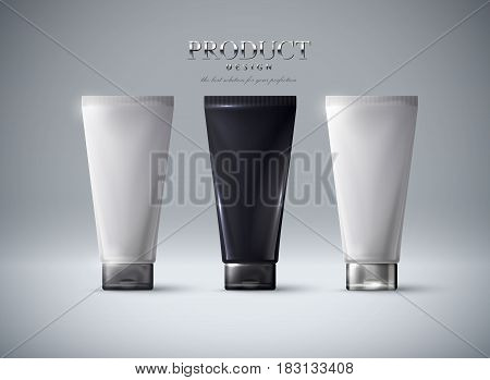 Cosmetics products ad poster template. Cosmetic mockup design. Cream tubes package. 3d vector illustration.