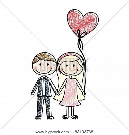 color pencil drawing of caricature couple of him in formal suit and her in dress with balloon in shape of heart vector illustration