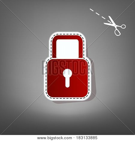 Lock sign illustration. Vector. Red icon with for applique from paper with shadow on gray background with scissors.