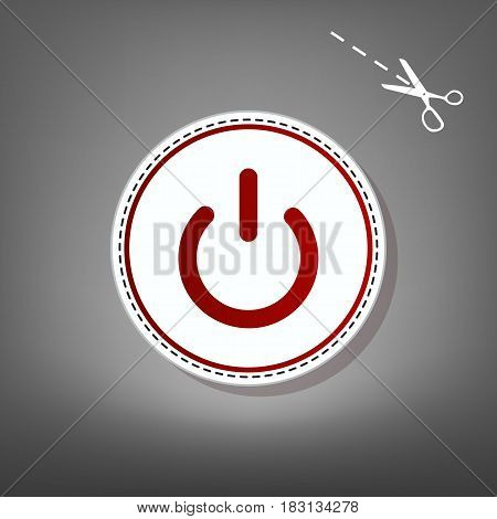 On Off switch sign. Vector. Red icon with for applique from paper with shadow on gray background with scissors.
