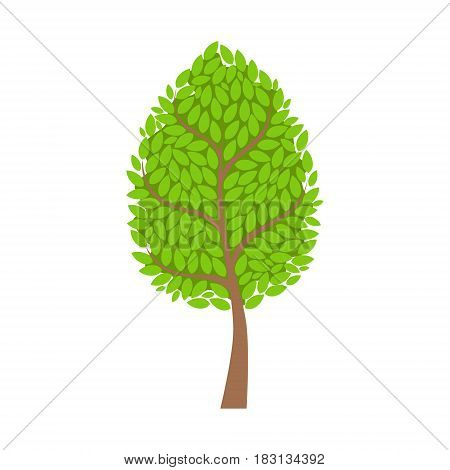 Tree with lush green foliage, leaves element of a landscape. Colorful cartoon vector Illustration isolated on a white background