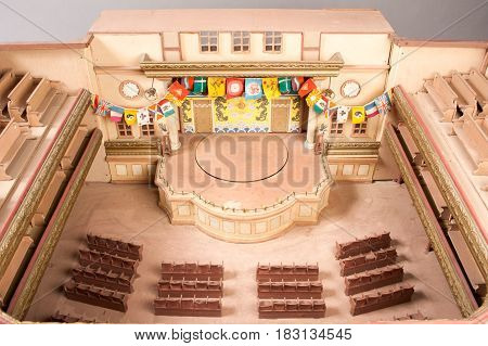 Beijing, China - 15 May 2014: Model of an opera on Chinese Theatre in miniature