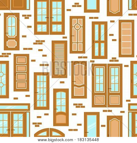 Vector doors design seamless pattern. Modern and classic flat enterance collection. Interior doorway illustration. Elegant wood passage construction. Black and white style isolated.