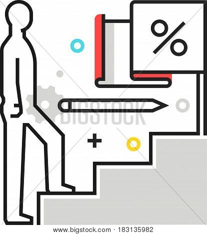 Color Box Icon, Climbing Up Illustration, Icon