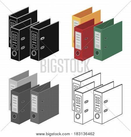 Ring binders icon in cartoon design isolated on white background. Library and bookstore symbol stock vector illustration.