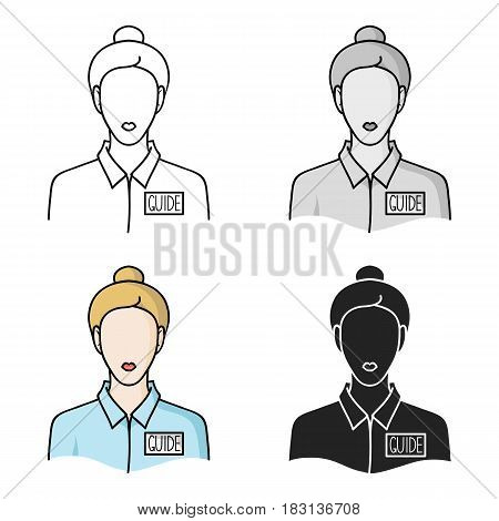 Museum guide icon in cartoon style isolated on white background. Museum symbol vector illustration.