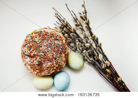 Easter Composition On A White Background - Easter Cake, Painted Eggs, Willow Branches