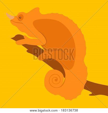 chameleon vector illustration style Flat side profile