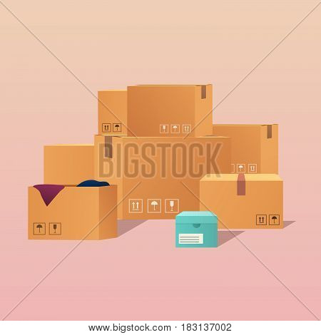 Pile of stacked sealed goods cardboard boxes. Flat design modern vector illustration concept.