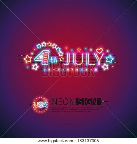 Glowing neon 4th July sign makes it quick and easy to customize your USA Independence Day project. Used neon brushes included. There are fastening elements in a symbol palette.