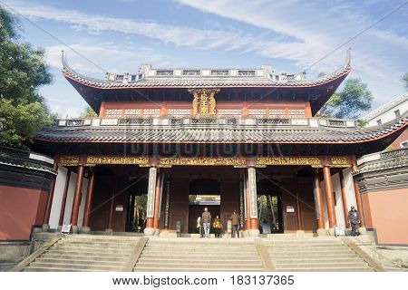 SUZHOU China. April 20 2017: Picture of the gate of Hanshan Temple in Suzhou China